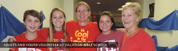 Adults and Youth Volunteer at Vacation Bible School